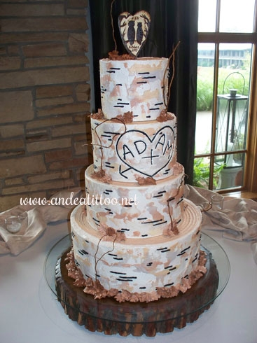 "Ashley's Cake! This is a 14"" & 6"" butter pecan cake, and a 10"" & 8"" spice cake. All apple filled with chinese 5 spice butter cream. Served 152. The wedding and reception were held at Atwood Lake Lodge."