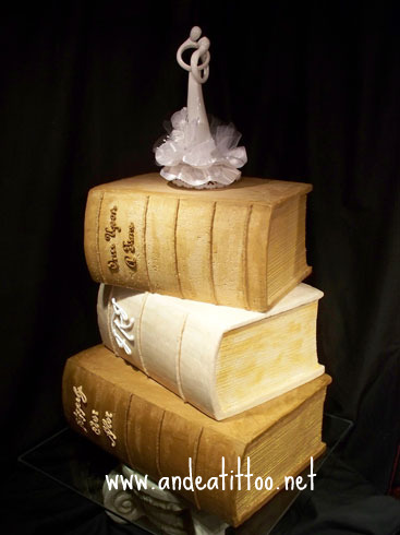 Book Stack,  9/19/09, This couple met in a bookstore, this is all butter cream, no fondant here, served 162