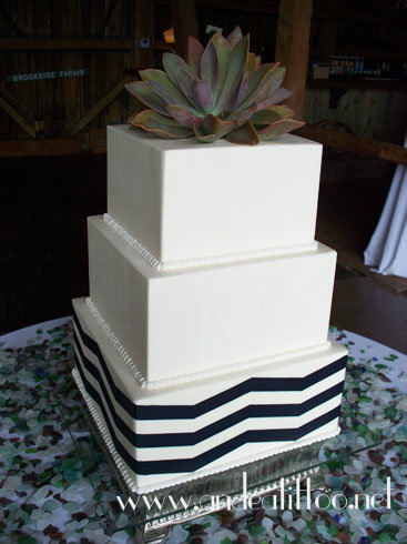 "Merrick's Cake. This is a 12"", 10"" and 8"". 12 & 8 are chocolate rush cake, 10 is spice cake. No filling. Frosted over all with hazelnut butter cream. The navy chevron is stencilled on with butter cream. The succulents on top are real. Served 143. Reception was held at Brookside Farms in Louisville, Ohio."