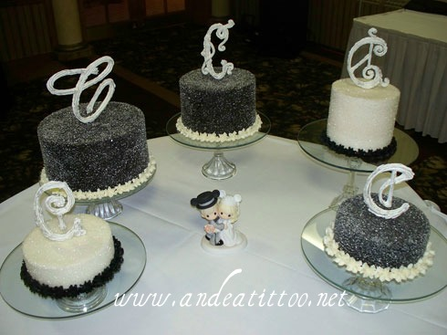 Nod to Mickey Wedding Dessert Buffet. Today, 11/12/11 at Todaros Party Center in Akron. Each cake was a different flavor. The 2 short ones were cheesecakes. 98 total servings.