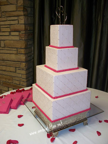 "Pink Quilt, Delivered this at 2pm to Atwwod Lake Lodge, 12"", 10"", 6"" & 4"". The 12"" & 6"" are chocolate rush cake, the 10"" & 4"" are red velvet, all chocolate bavarian cream filled with chambord (raspberry liquor) butter cream over all."